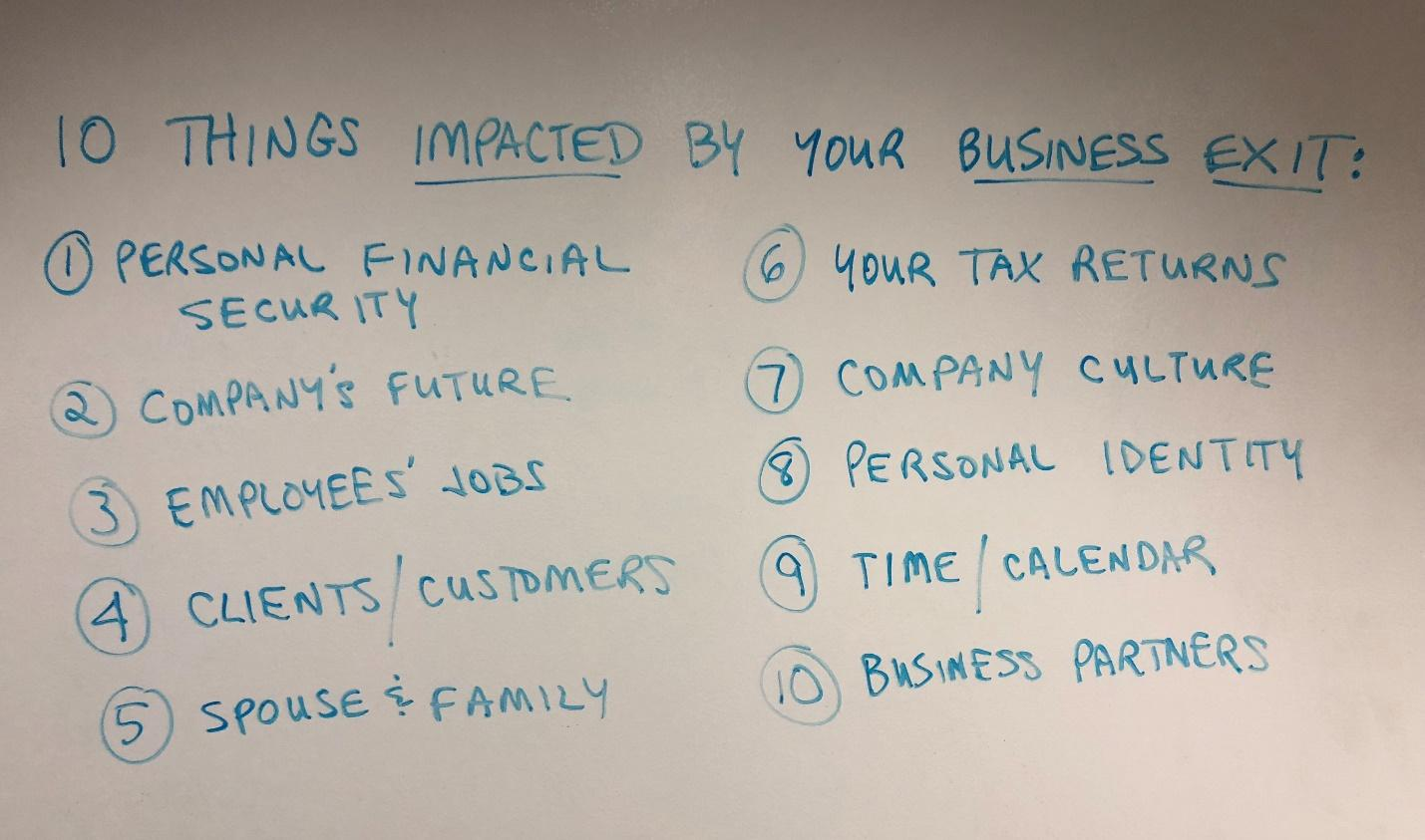 10 Things Impacted by Your Business Exit