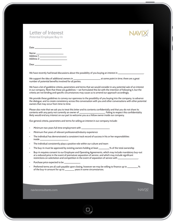 Employee Buy-In Letter