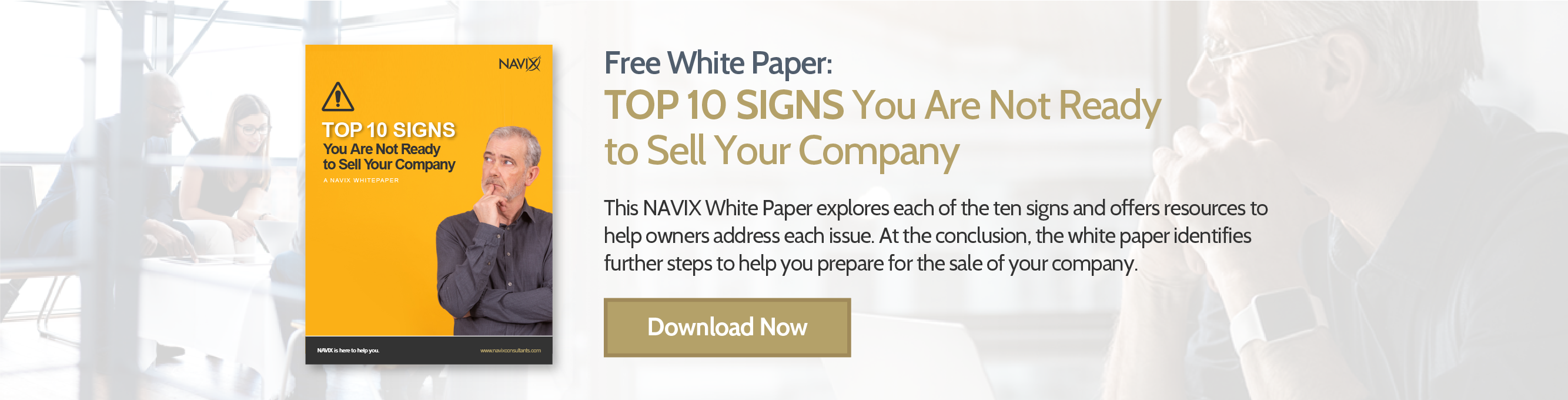FREE White Paper: TOP 10 SIGNS You Are Not Ready to Sell Your Company